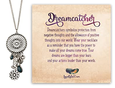 Bohemia Dreamcatcher Pendant Long Heart Free Spirit Bird Necklace Classy Dream Catcher Words