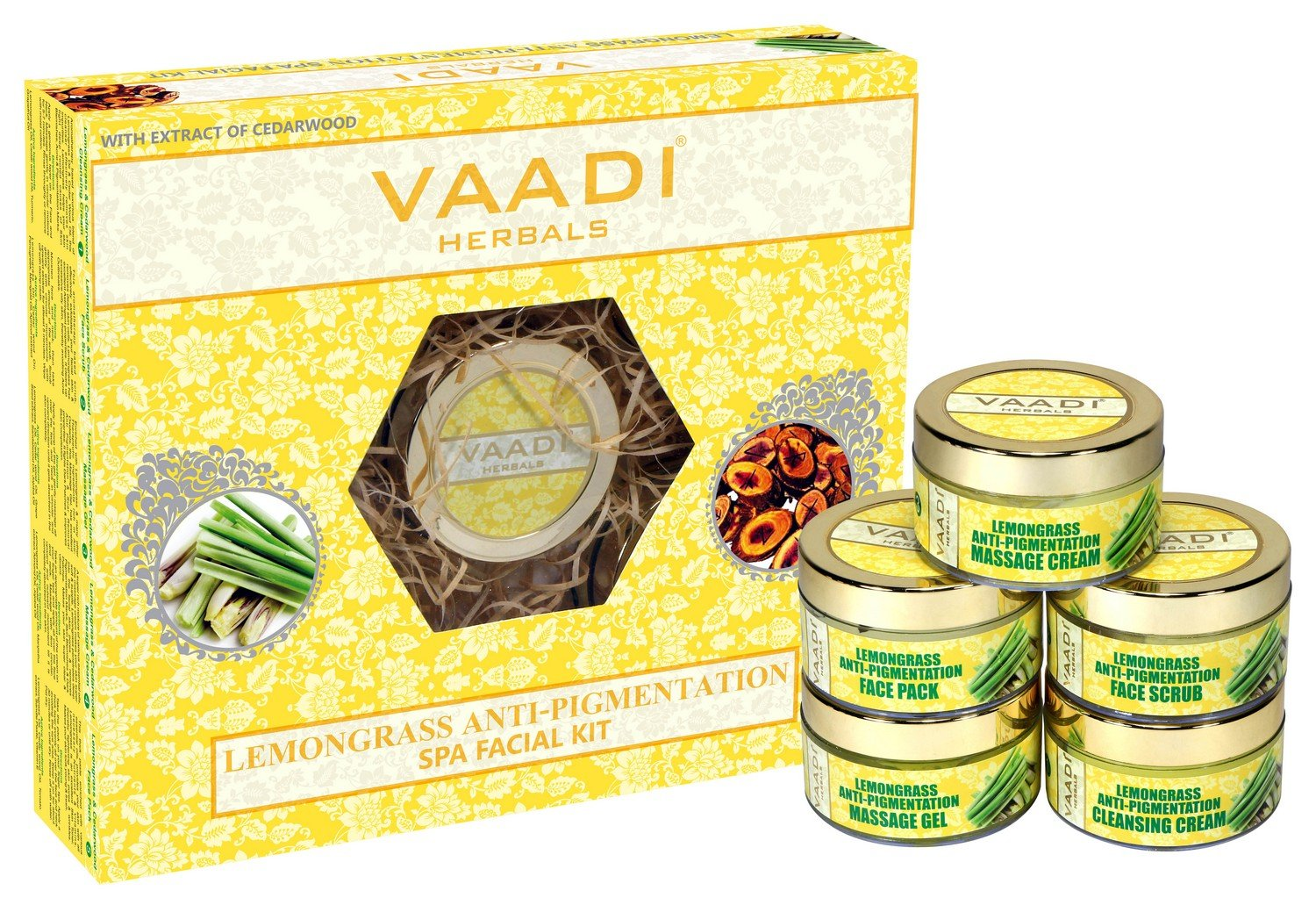 Vaadi Herbals Lemongrass Anti Pigmentation Spa Facial Kit with Cedarwood Extract, 270g product image