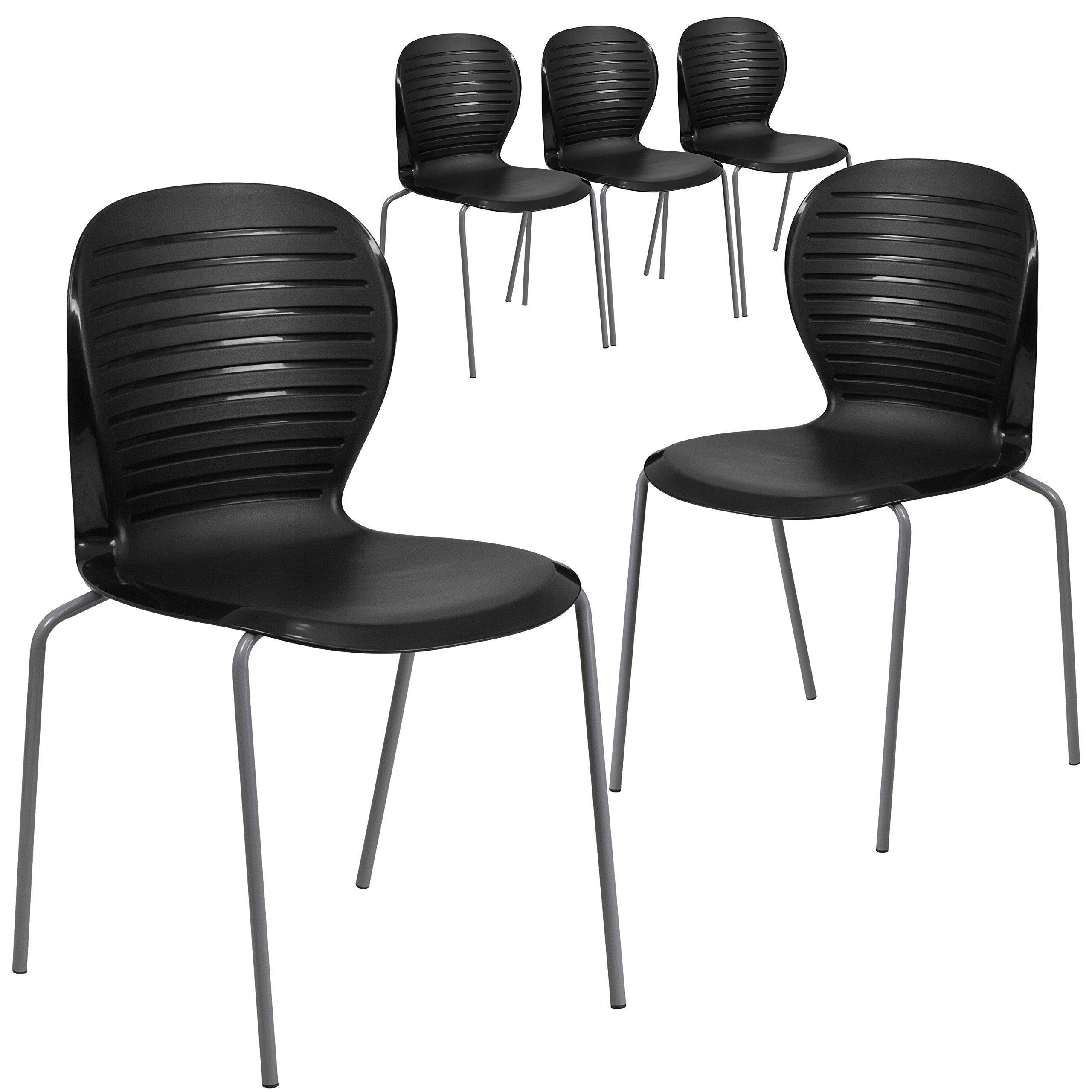 Flash Furniture 5 Pk. HERCULES Series 551 lb. Capacity Black Stack Chair