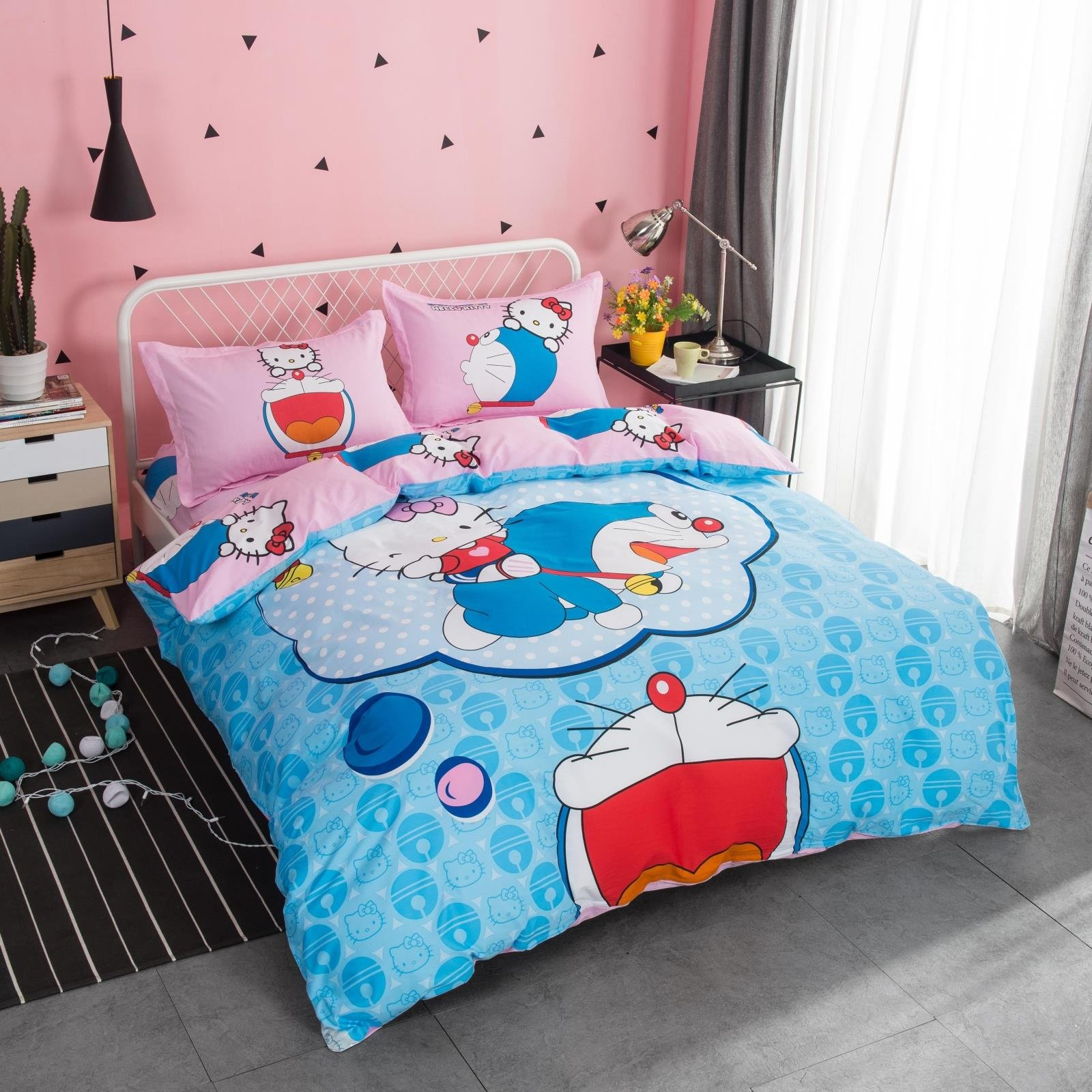 CASA 100% Cotton Kids Bedding Set Girls Doraemon Hello Kitty Duvet cover and Pillow cases and Fitted sheet,girls,4 Pieces,Queen