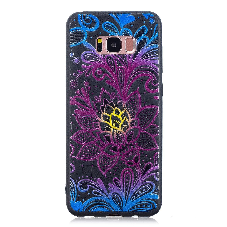 Flymaff compatibile per Galaxy S8+ + custodia + schermo in vetro, pittura colorata custodia ultra sottile in TPU, morbida e antiscivolo per Samsung Galaxy S8Plus Samsung Galaxy S8 Plus