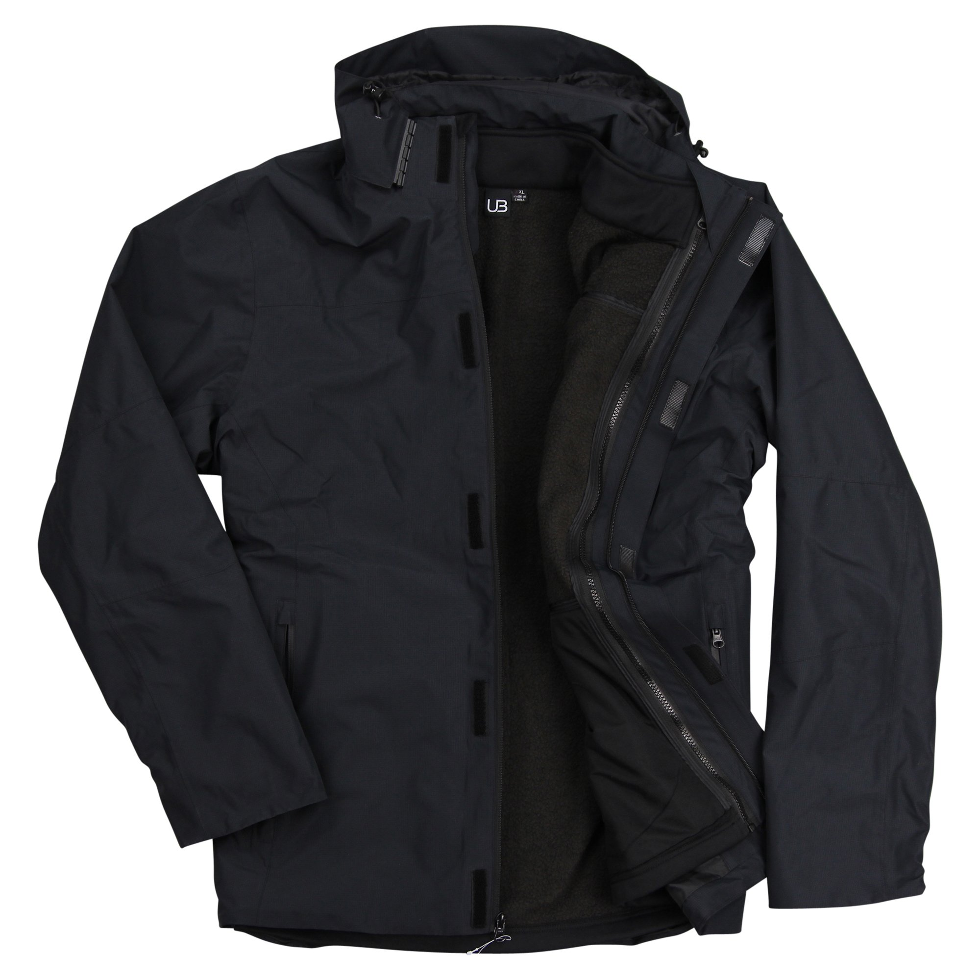 Men's Ripstop 3-in-1 Cold Defender Waterproof Winter Ski Coat (Black, Large) by Urban Boundaries