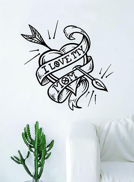 Amazon com: I Love My Mom Heart Arrow Tattoo Quote Decal