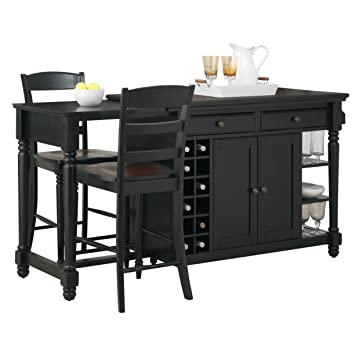 Grand Torino Black Kitchen Island & 2 Stools by Home Styles