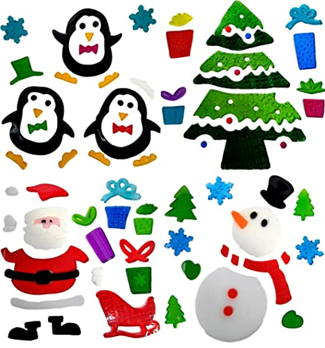 4 sheets of christmas window stickers gel clings glass decoration