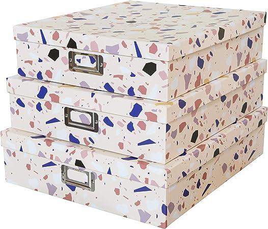 SLPR Cajas de cartón de Almacenamiento Decorativas con Tapas (Juego de 3, Ingeniosamente abstractas) | Cajas de Regalo de anidamiento para Recuerdos Juguetes Fotos Recuerdos: Amazon.es: Hogar