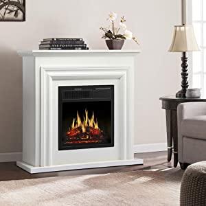 JAMFLY Electric Fireplace with Mantel Package Freestanding Fireplace Heater Corner Firebox with Log & Remote Control,750-1500W, White