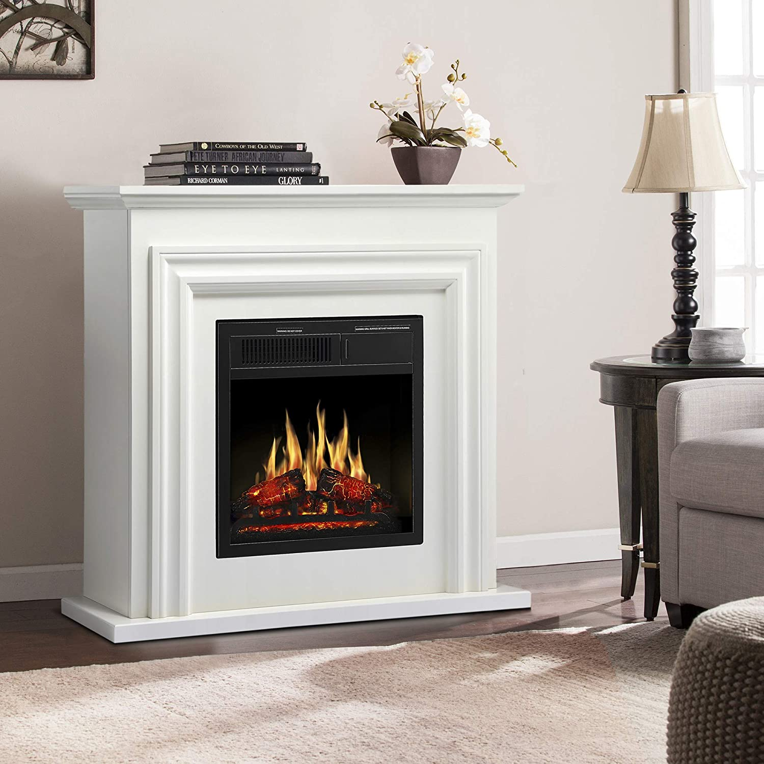 JAMFLY 36 Wood Electric Fireplace Mantel Package Freestanding Heater Corner Firebox with Log Hearth and Remote Control,750-1500W Ivory White Finish