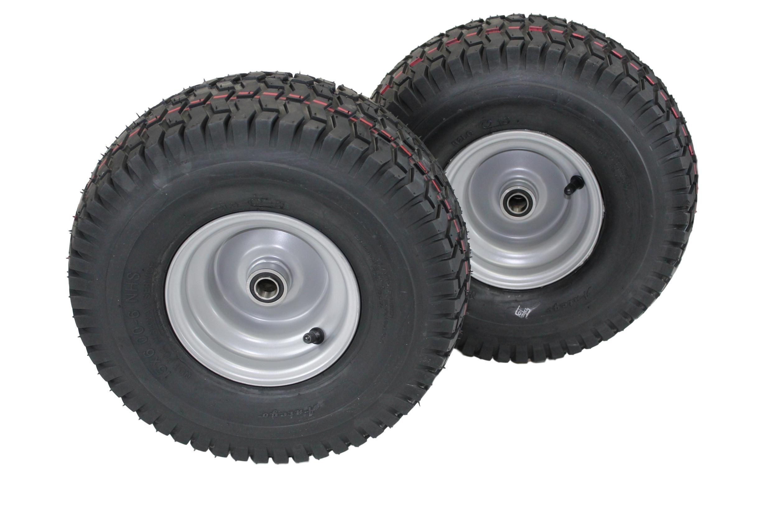 (Set of 2) 15x6.00-6 Husqvarna/Poulan Tire Wheel Assy .75'' Bearing