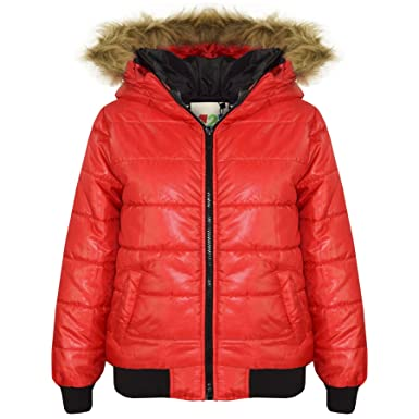 7ea24a17b974 Amazon.com  A2Z® Boys Girls Jackets Kids Red Maya Faux Fur Hooded ...