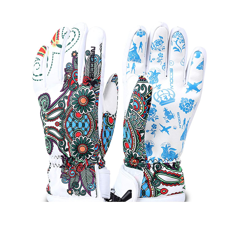 Adisaer Winterblumenmaske Ski Fahrende Warme Handschuhe Größe