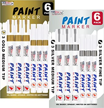 12 Gold /& Silver Oil Based Paint Pen Markers Medium /& Fine Point Tips Permanent