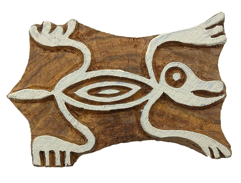 Madera Bloque de imprenta lagarto sello sello tallado a mano ...