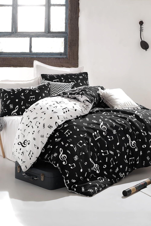 DecoMood Music Bedding Set, Melody Note Motifs Composition Design, Full/Queen Size Duvet Cover Set, Black and White, Reversible (4 Pcs)