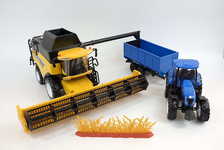 New Ray–05763–Fahrzeug Miniatur–Coffret New Holland Mähdrescher + Traktor und seine Anhänger