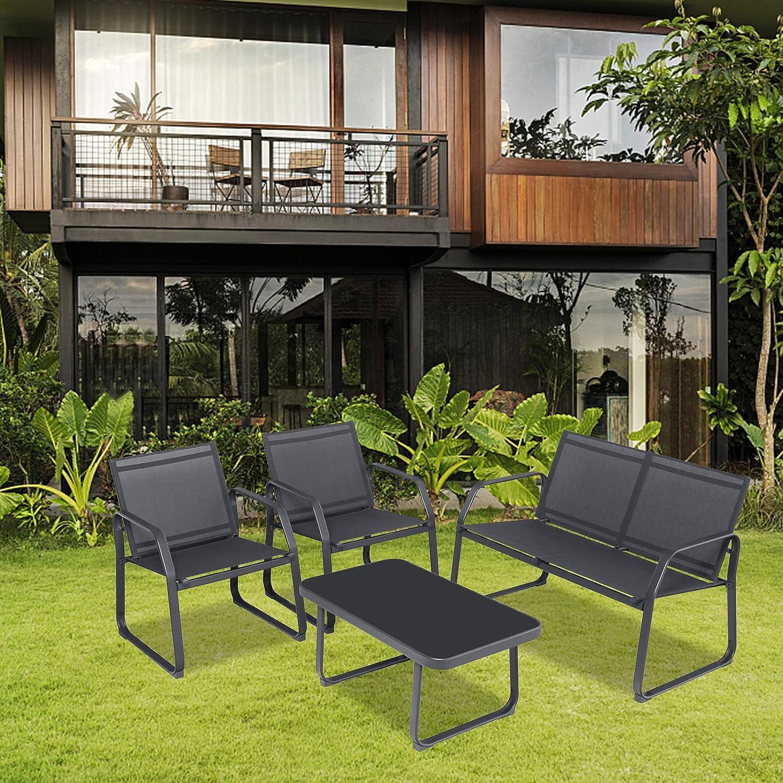1 Silla Doble Sof/á Sigtua Muebles de Jardin 4 Piezas de Jardin Muebles de Patio al Aire Libre Conjunto Mesa y Sillas Jardin 2 Sillones 1 Mesa de Vidrio para Terraza Exterior Interior Gris Oscuro