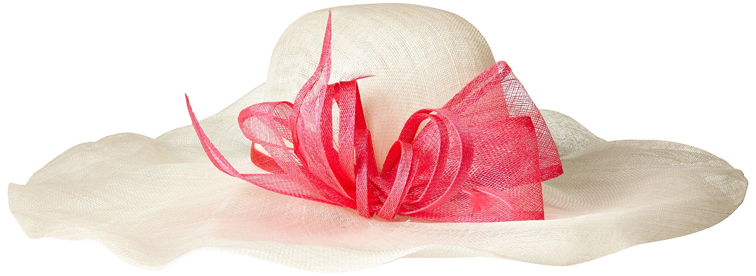Scala Women's Soft Brim Sinamay Hat with Bow, Ivory/Fuchsia, One Size by Scala