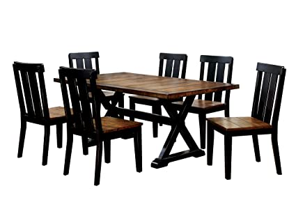 HOMES: Inside + Out Annson Rectangular 7 Piece Dining Set, Antique Oak - Amazon.com - HOMES: Inside + Out Annson Rectangular 7 Piece Dining
