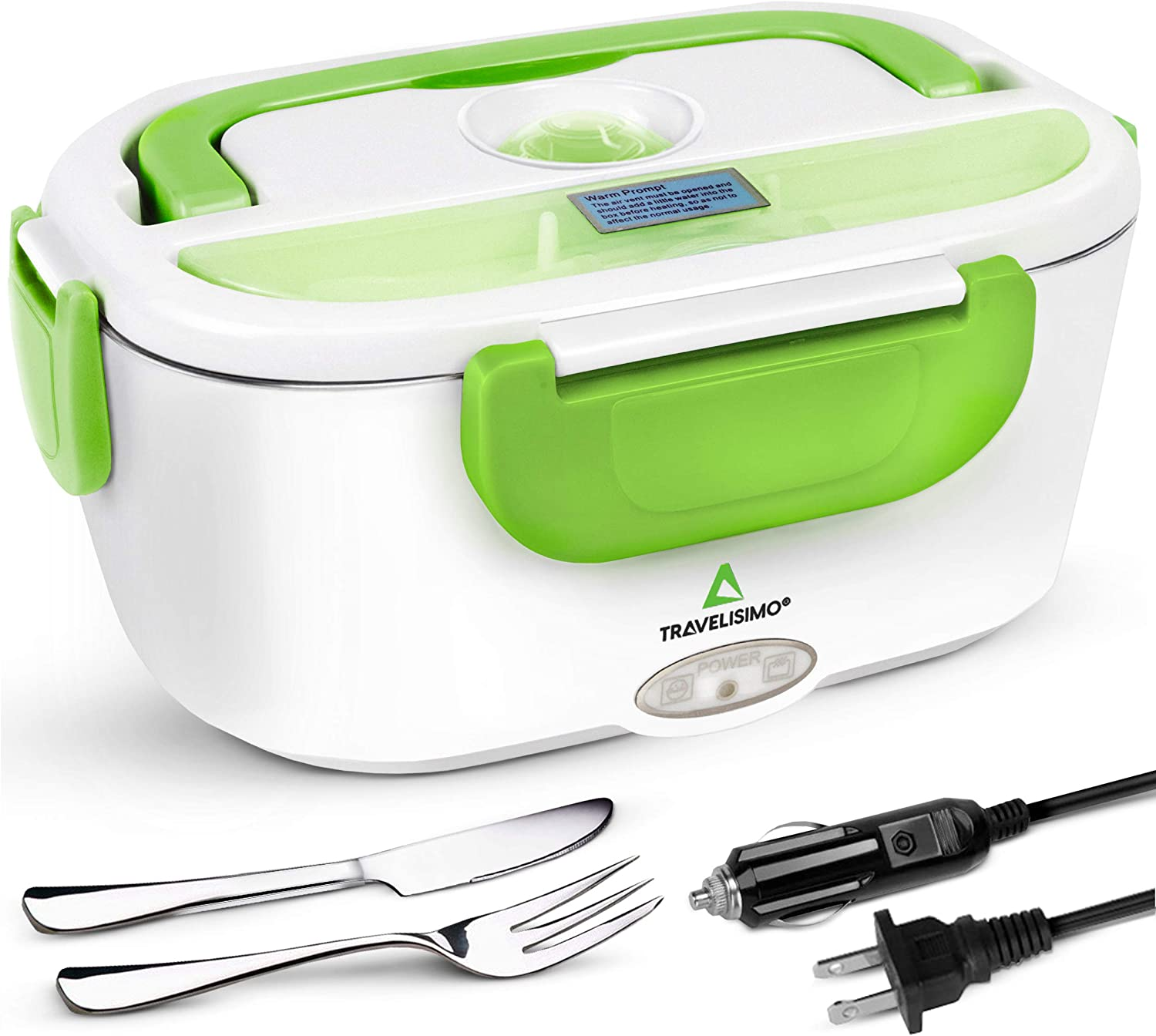 TRAVELISIMO Electric Lunch Box 2 in 1 - Portable Food Warmer for Car, Truck, Home and Work 12V & 110V 40W - Includes 2 Compartments, Removable Stainless Steel Food Heater Container (Green)