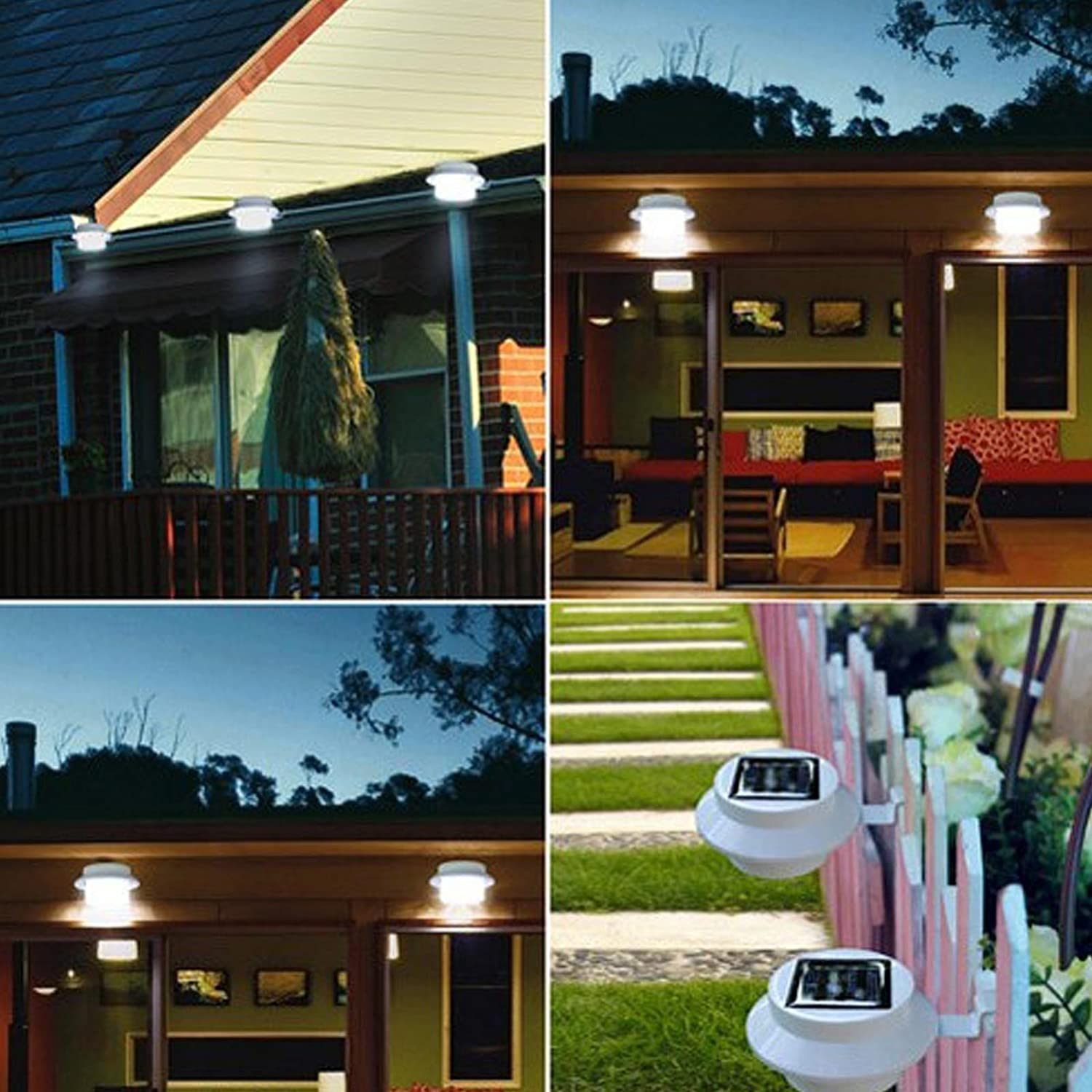 amazoncom outsunny led solar powered outdoor gutter fence wall light white wall porch lights garden u0026 outdoor