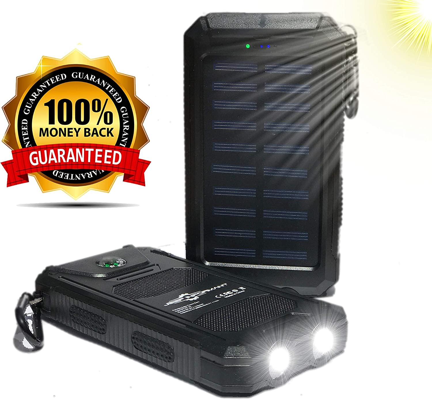 : Solar Phone Charger 30000mAh with 2 LED