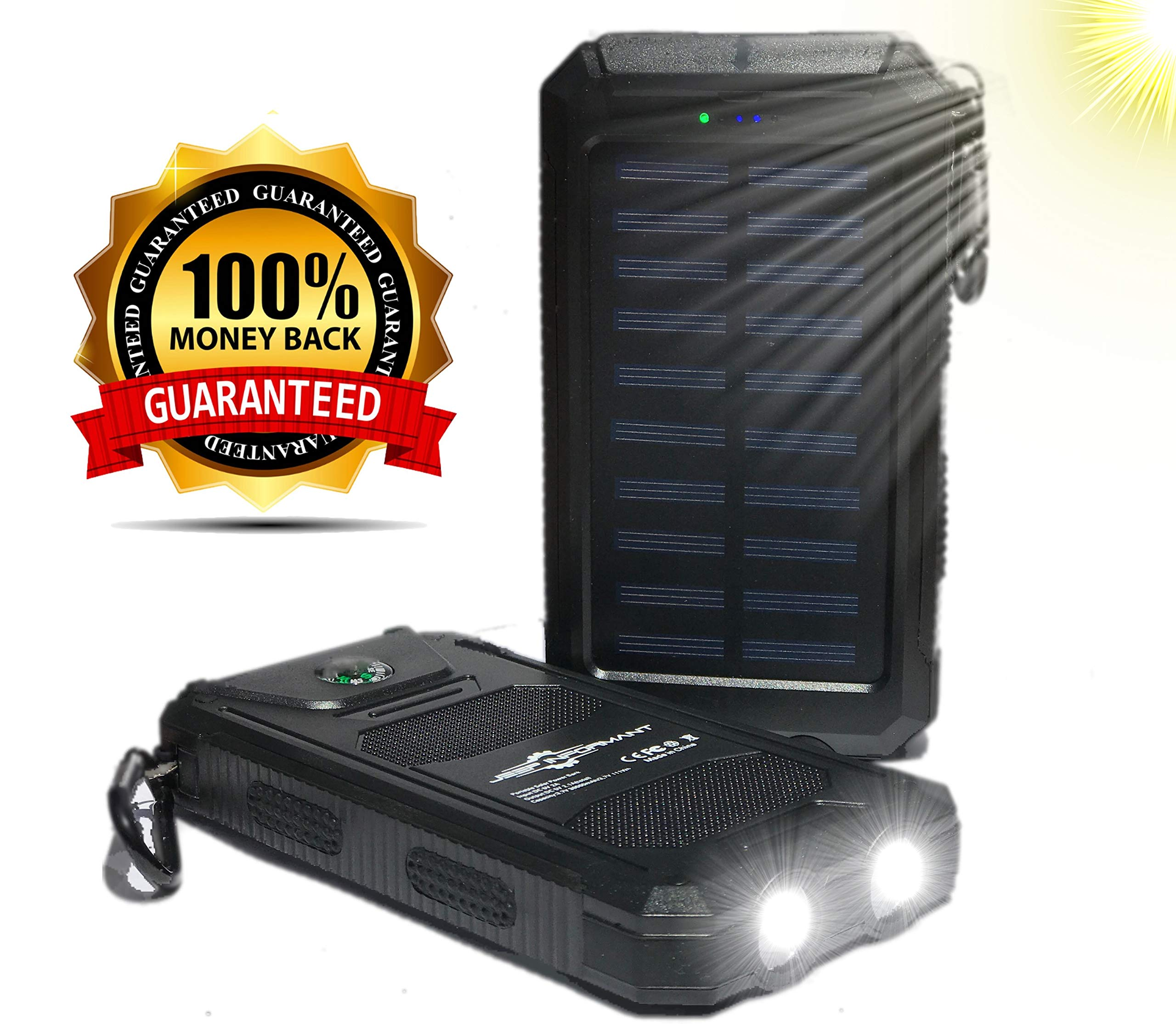 Solar Phone Charger 30000mAh with 2 LED Flashlight Portable Battery Pack (Power Bank), 2 USB Ports and Compass Great for Camping Traveling or Emergency Backup