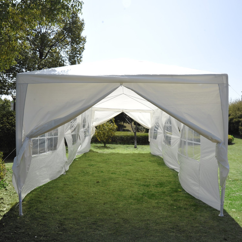 Amazon.com Outsunny Gazebo Canopy Party Tent with Removable Side Walls 10u0027 x 30u0027 White Garden u0026 Outdoor & Amazon.com: Outsunny Gazebo Canopy Party Tent with Removable Side ...