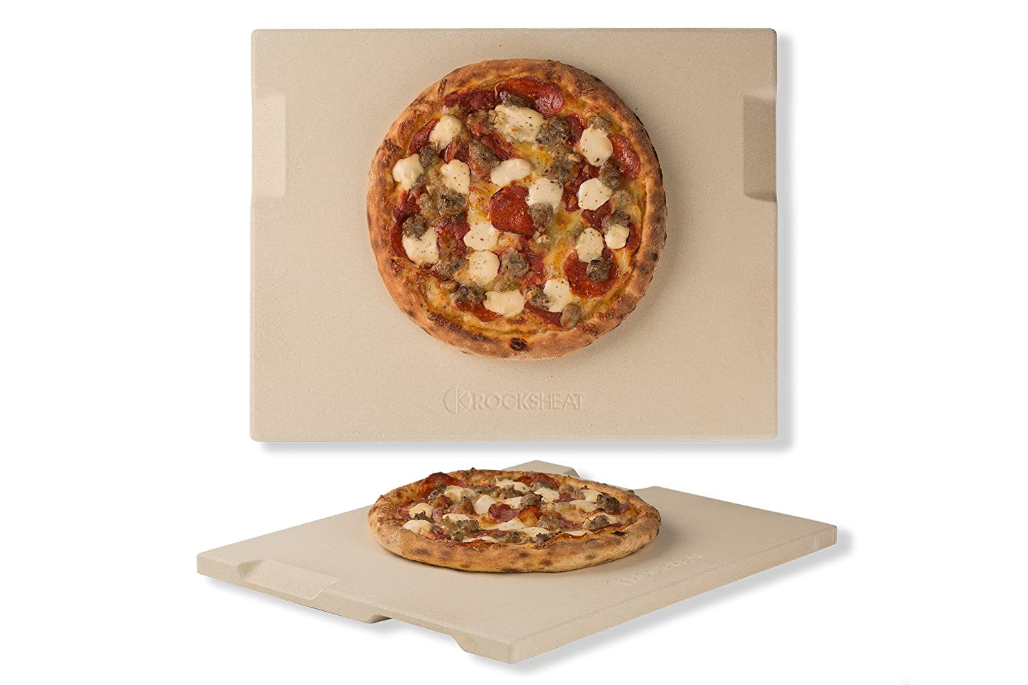 "Pizza Stone 12"" x 15"" Rectangular Baking & Grilling Stone, Perfect for Oven, BBQ and Grill. Innovative Double - faced Built - in 4 Handles Design"