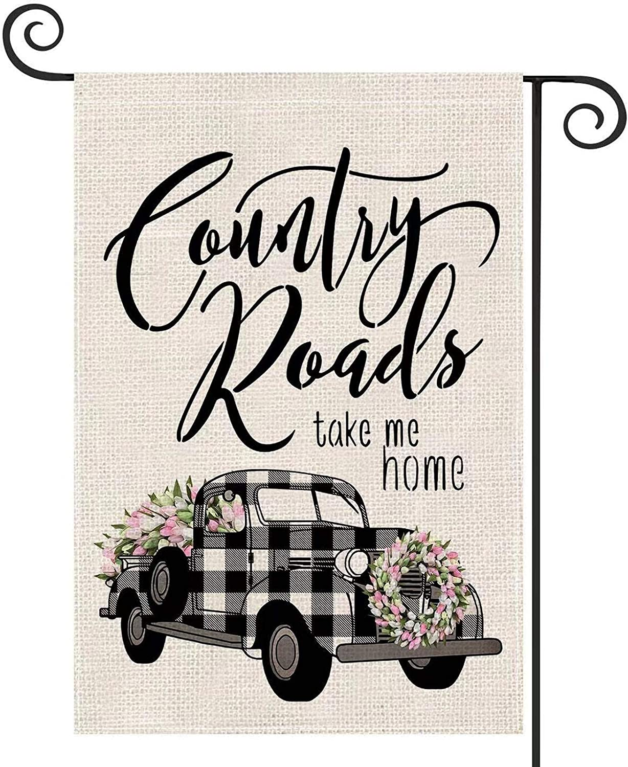 EKOREST Summer Garden Flag Buffalo Plaid Truck with Tulip Wreath,12 x 18 Vertical Double Sided, Country Roads Take Me Home Yard flags for All Seasons,Small spring and summer Flag for Farmhouse Outdoor