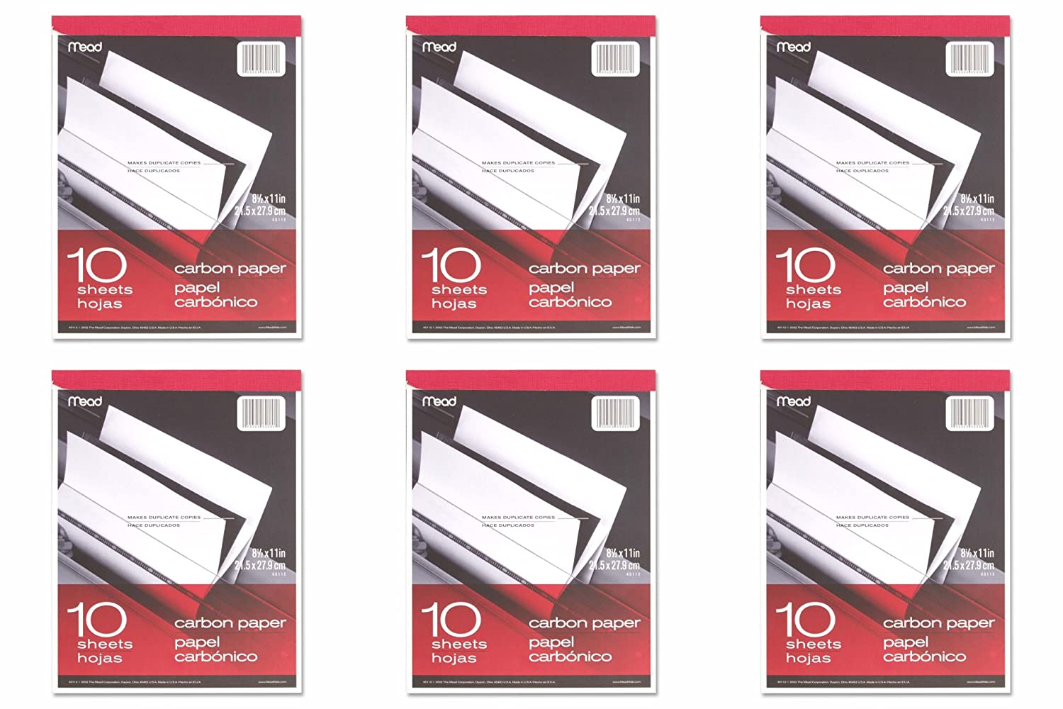 Meadwestvaco 40112 10 Count 8.5 X 11 Carbon Paper Tablet