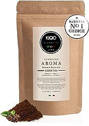 KIQO Aroma Espresso aus Italien | in schonenden Kleinstchargen geröstet | säurearm und bekömmlich | 65% Arabica & 35% Robusta Bohnen (250g - gemahlen)