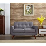 Container Furniture Direct Mid-Century Tufted Button Upholstered Rainbeau Loveseat with Removable Seat Cushions (Light Grey)