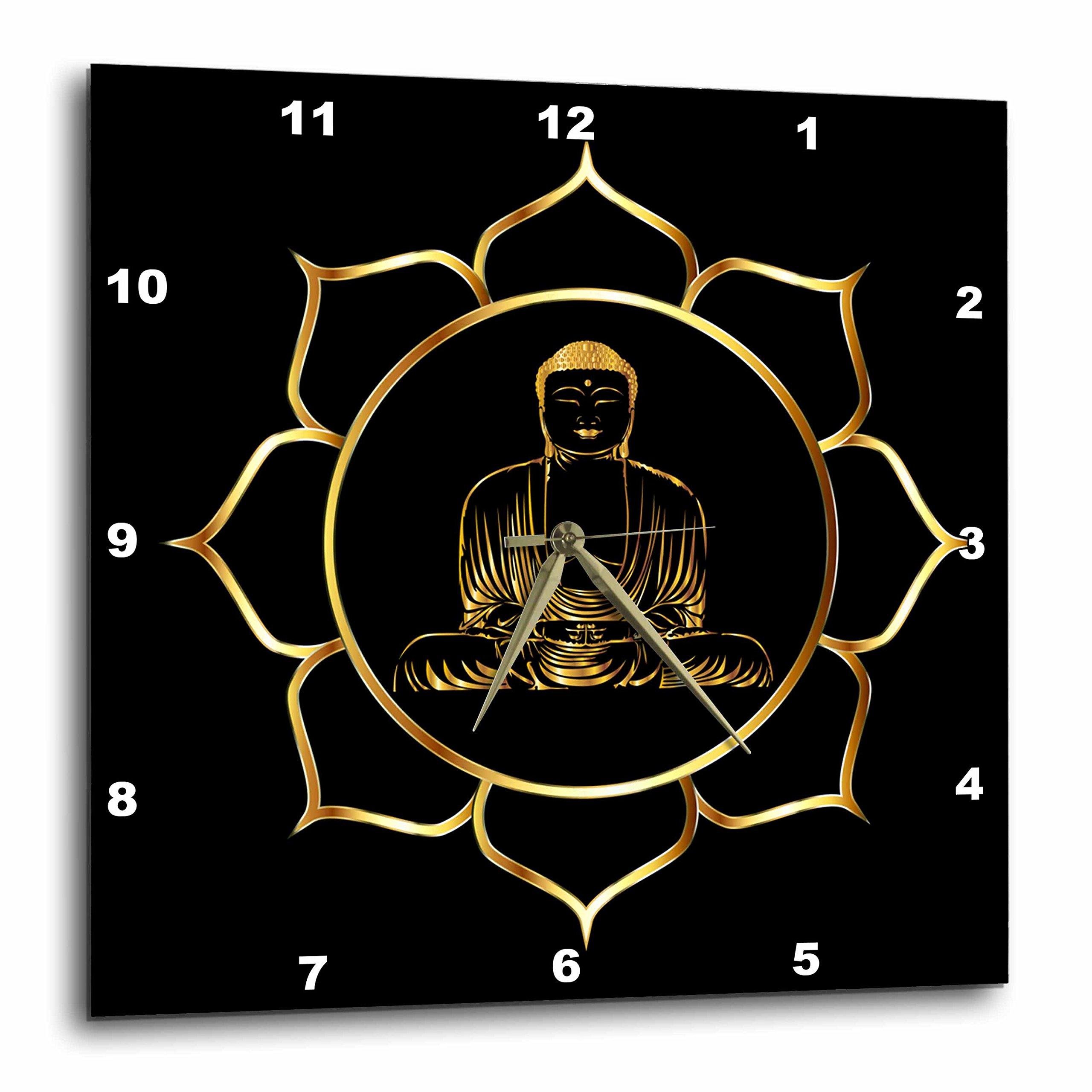 3D Rose Buddha Asia Symbol Fantasy Thai Religion Spiritual Design Gold Black Wall Clock, 13'' x 13'' by 3dRose