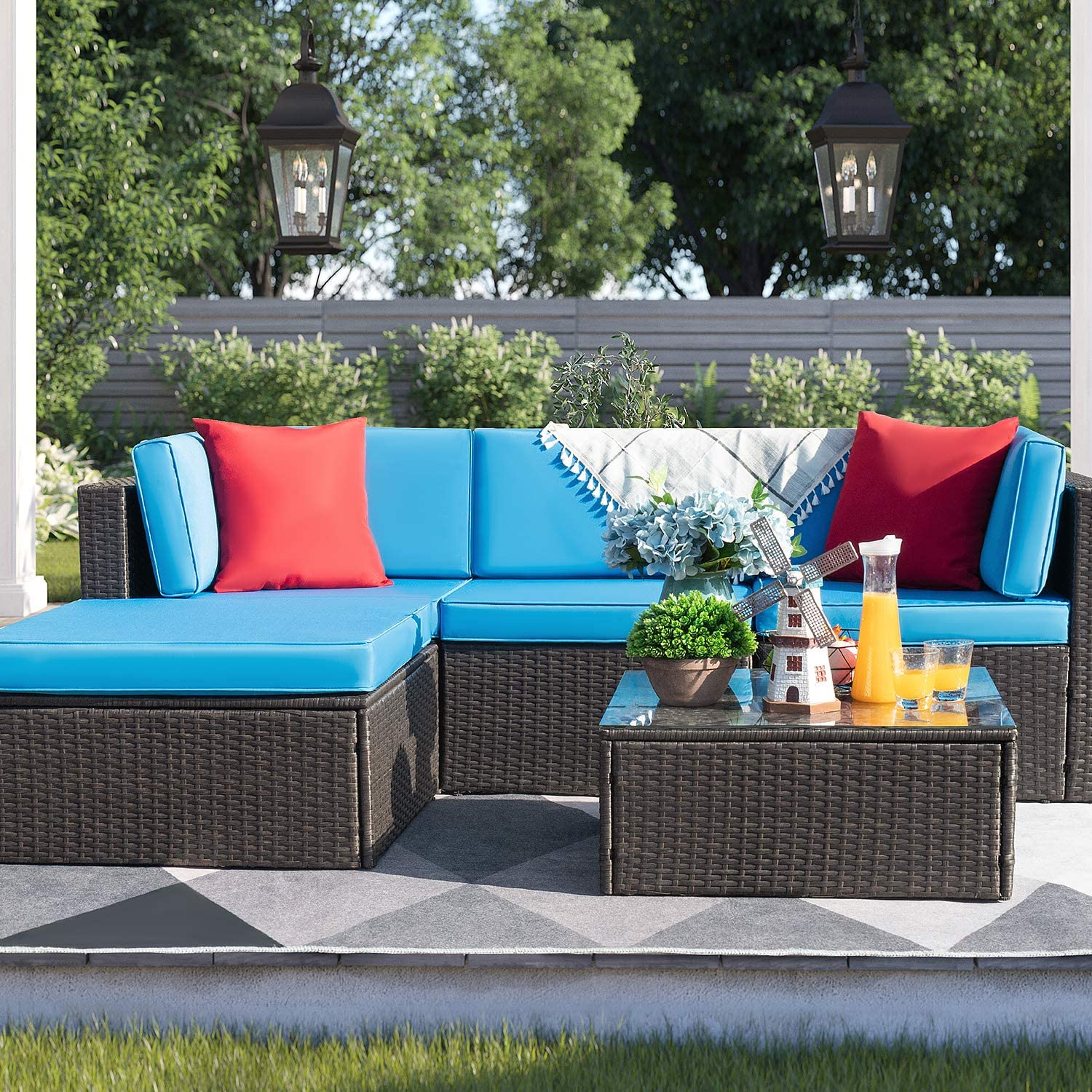 Devoko 5 Pieces Patio Furniture Sets All Weather Outdoor Sectional Sofa Manual Weaving Wicker Rattan Patio Conversation Set with Cushion and Glass Table (Blue)
