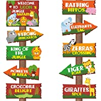 20 Pieces Safari Jungle Animal Signs Party Signs Wild Animal Directional Signs for Kids Welcome Signage Zoo Animals Yard…