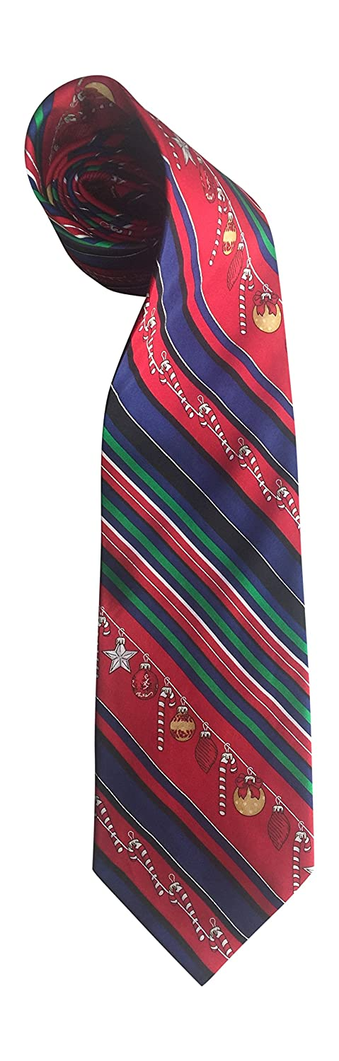 Christmas Tie 100/% Silk Xmas Candy Canes Bulbs Navy Blue Red 240