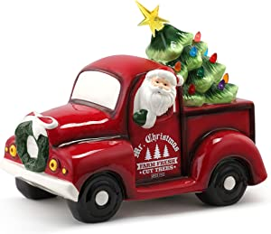 """Mr. Christmas Ceramic Truck with Tree 14"""" Christmas Décor, Red"""