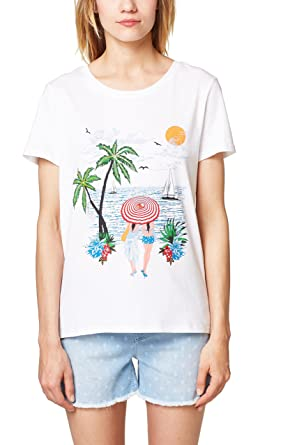 501674a4f4d090 edc by Esprit Women's 058cc1k034 T-Shirt, Multicoloured (White 2 101),