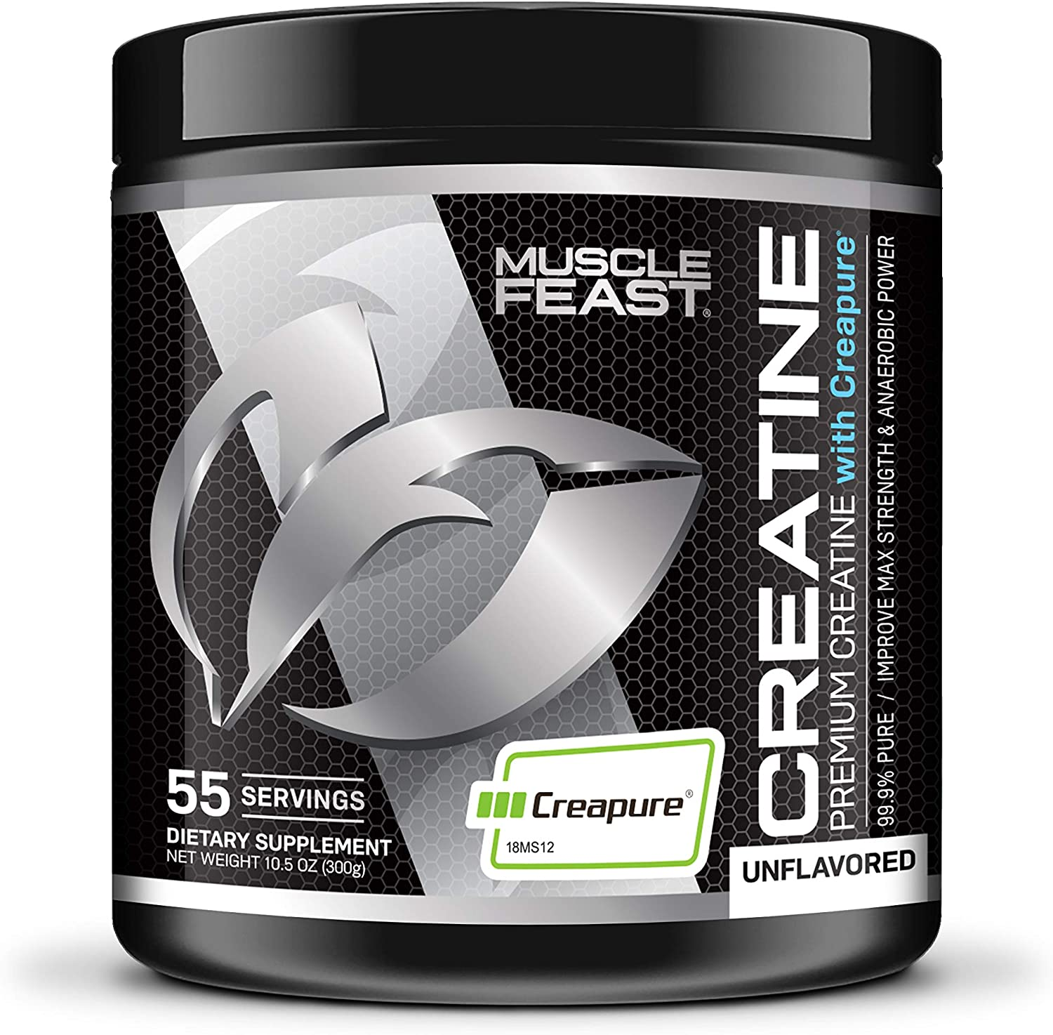 MUSCLE FEAST Creapure Creatine Monohydrate Powder | Premium Pre-Workout or Post-Workout | Easy to Mix, Gluten-Free, Safe and Pure, Kosher Certified (300g, Unflavored)