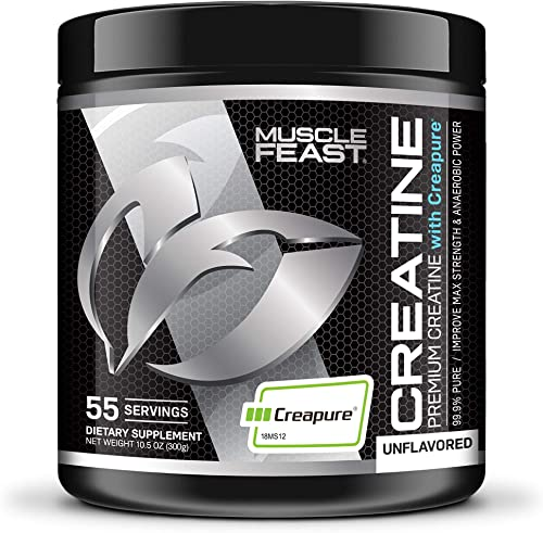 MUSCLE FEAST Creapure Creatine Monohydrate Powder Premium Pre-Workout or Post-Workout Easy to Mix, Gluten-Free, Safe and Pure, Kosher Certified 300g, Unflavored