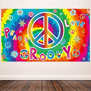 60's Carnival Groovy Decoration Banner Hippie Theme Party Photography Background 60's Party Scene Setters Groovy Wall Decoration Kit Peace and Love for Large Party Supplies 72.8 x 43.3 Inch