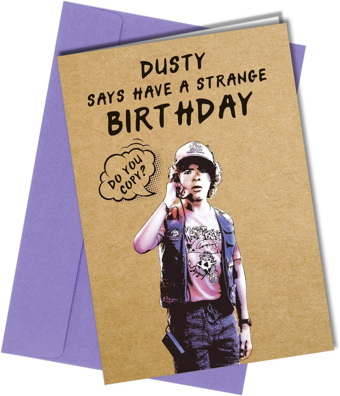1214 Stranger Things Dustin Birthday Card Funny Rude Cheeky Never Ending Story Amazon Co Uk Office Products