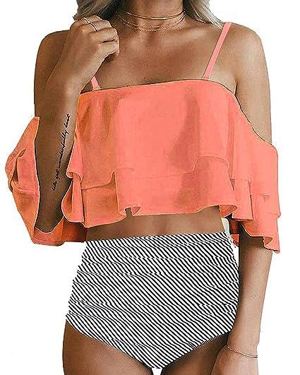 447e28274f654 Amazon.com  Pxmoda Womens High Waist Leaf Print Bikini Ruffle Flounce Bathing  Suit  Clothing