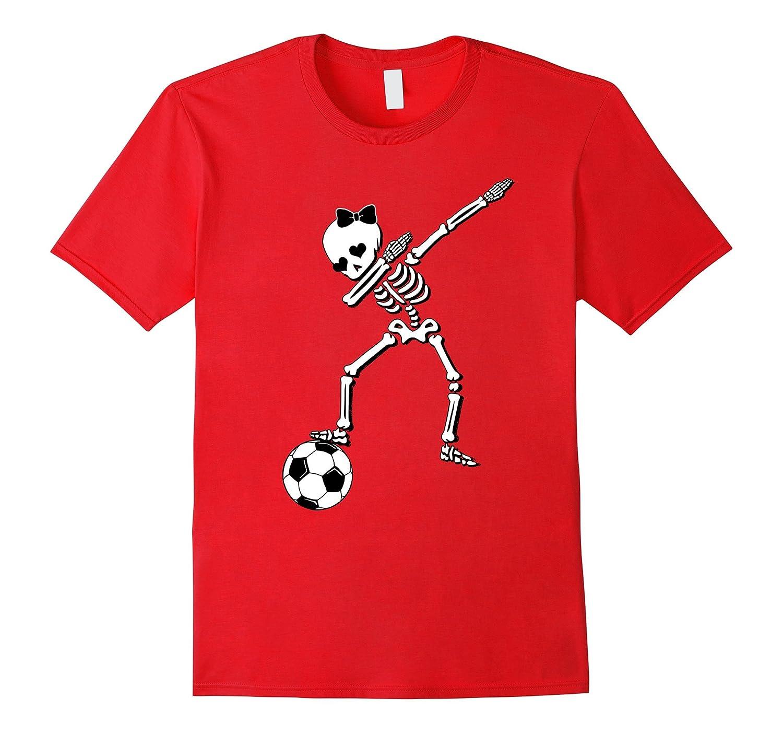 Soccer Girl Dabbing Skeleton Shirt Funny Halloween Soccer-SFS