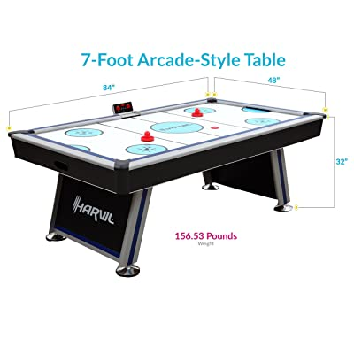 Harvil 7 Foot Air Hockey Table Full Size for Kids and Adults with Powerful Dual Electric Blowers, Paddles and Pucks