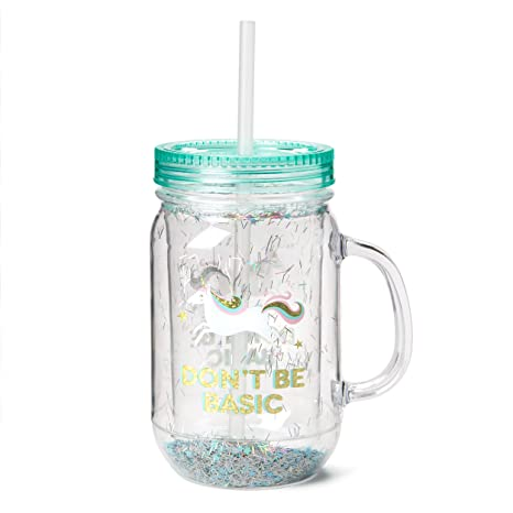 a07778aacaf9 Fun Mason Jar Plastic Cups: Large Break Resistant, BPA Free To-Go Mug with  Lid and Handle - Perfect as Party Cups, Kids Travel Cups, Wedding Party ...