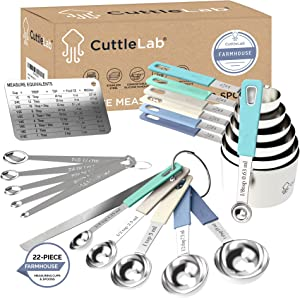 CuttleLab 22-Piece Stainless Steel Measuring Cups and Spoons Set, Tad Dash Pinch Smidgen Drop Mini Measuring Spoons, Measuring Stick Leveler, Measurement Conversion Chart Fridge Magnet, (Farmhouse)