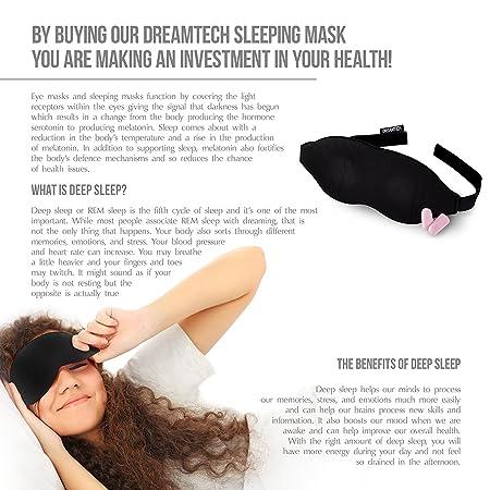 Máscara para dormir DreamTECH® DISEÑO DE ESPUMA VISCOELÁSTICA DE DOBLE CAPA con tapones para los oídos gratis, conjunto de 1 pieza.: Amazon.es: Equipaje
