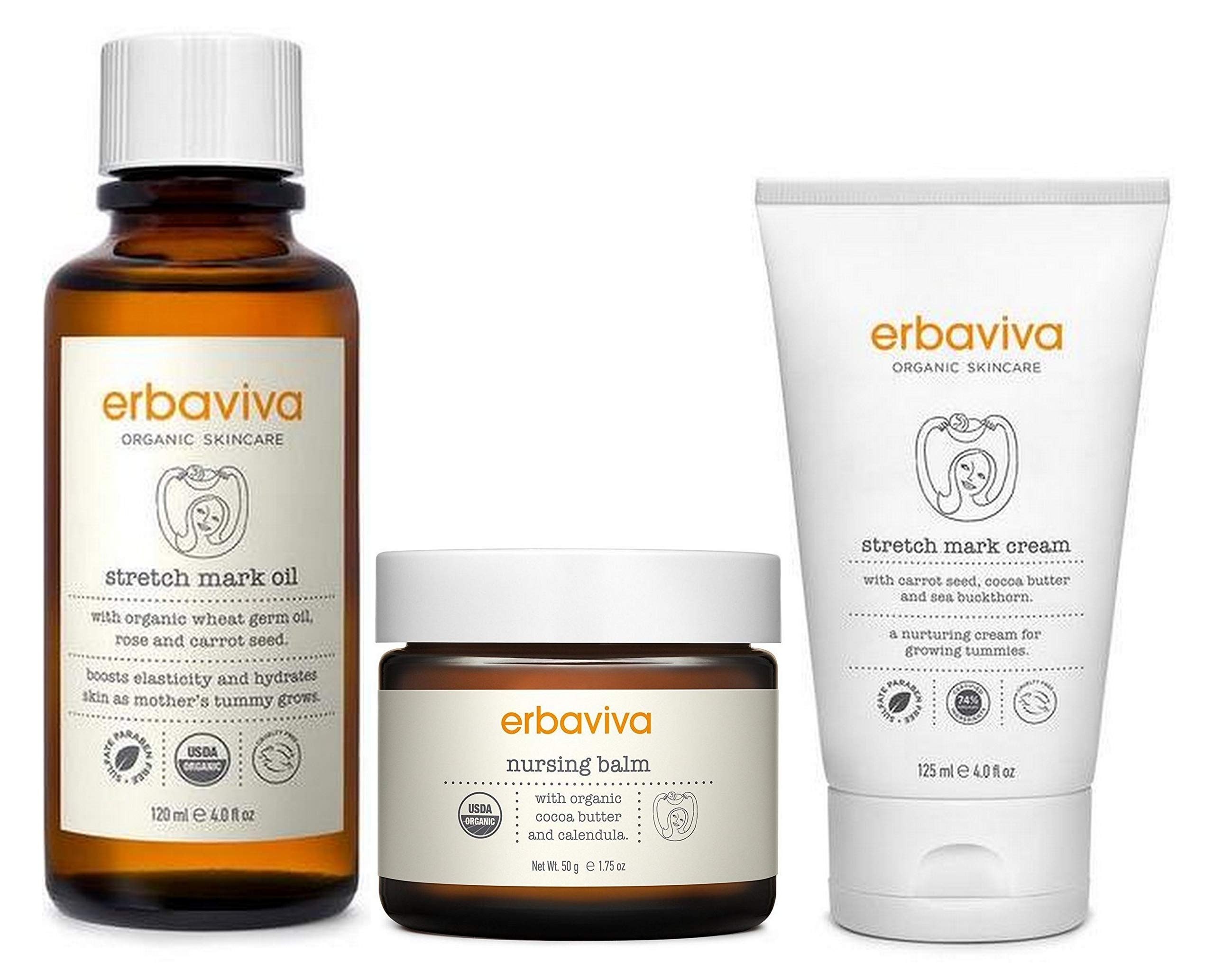 Erbaviva New Moms Bundle (3 Piece Bundle: Includes Stretch Mark Oil, Stretch Mark Cream, And Nursing Balm)