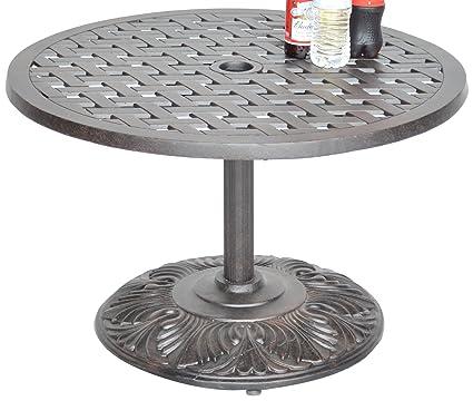 Ku0026B PATIO LD1031PE 30 Nassaupedestal Coffee Table, 30u0026quot;, Antique Bronze